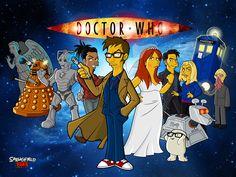 The Tenth Doctor and his companions...Simpsons style! http://3.bp.blogspot.com/-dk9smbHQMeI/Tg3w4s8b-SI/AAAAAAAADgI/jQ6b5ZOYRs8/s1600/Doctor-Who-David-Tennant-Wallpaper-1024x768.jpg