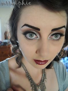 50s makeup  (The eyebrows....maybe a little too much for the real world..)