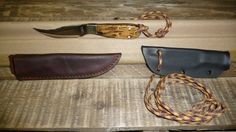 Compact Skinner with neck knife & Leather Sheath. Adjustable wrist lanyard. Has false edge on top 59 Rockwell Hardness. Hammered thru quarter with no touch up after words. Contact me coxcutter@att.net