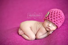 Hot Pink Button Baby Hat