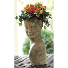 Terra Cotta Lady Planter - Live Moss Lady Planter- Moss Head Planter - Handmade Female Head Planter -Green Moss Planter