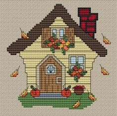 Examples of cross-stitch, Cross Stitch House, Cross Stitch Bird, Modern Cross Stitch, Cross Stitching, Cross Stitch Bookmarks, Cross Stitch Charts, Cross Stitch Designs, Cross Stitch Patterns, Crewel Embroidery