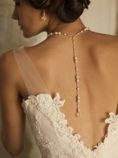 Alluring Wedding Back Necklace with White or Ivory Pearls & Crystals