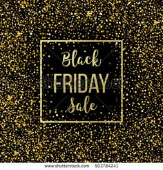 Golden Black Friday sale lettering background. Template for your design, invitation, flyer, card, gift, voucher, certificate and poster. Vector illustration