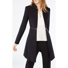 BCBGMAXAZRIA Arelia A-Line Coat ($268) ❤ liked on Polyvore featuring outerwear, coats, black, fur-lined coats, a-line coat, bcbgmaxazria and long sleeve coat
