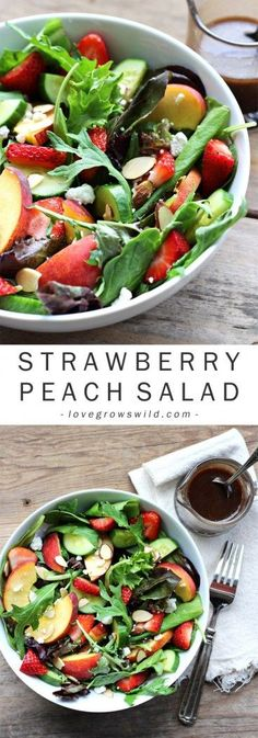 Try this fruity Strawberry Peach Salad for a fresh, fast, and healthy meal any time of day! Fresh greens topped with juicy peaches, ripe strawberries, cucumber, goat cheese, sliced almonds, and a yummy honey balsamic dressing. | http://LoveGrowsWild.com