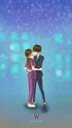 Korean art kdrama aesthetic wallpapers manga second world fan art Love Cartoon Couple, Cute Couple Art, Anime Love Couple, Cute Anime Couples, Chibi Couple, W Two Worlds Wallpaper, K Wallpaper, Wallpaper Quotes, Kdrama