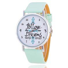 Aliexpress.com: Comprar Siga sus sueños mujeres cuarzo relojes Reloj Mujer del Relogio correa de cuero Feminino Reloj 2015 nuevo Reloj del vestido del Reloj de de la mano del reloj fiable proveedores en aiwise