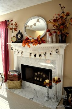 Give Thanks Mantel - Fall/Thanksgiving I want to build this mantel for my fireplace.