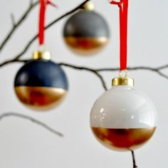 Create these flashy and stylish ornaments with a bit of painter's tape and paint!