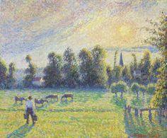 Camille Pissarro「Pâturage, coucher de soleil, Eragny」(1890)