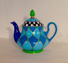 Custom Hand Painted Tea pot // Painted Coffee pot // Whimsical