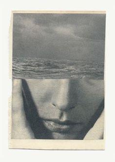 Katrien de Blauwer >>> Grief, except the waves are bigger. Photomontage, Graphisches Design, Graphic Design, Book Design, Art Du Collage, Art Collages, Photo D Art, Belle Photo, Art Inspo