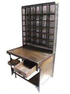 Meuble industriel ancien deco loft usine meubles industriels pinterest - Mobilier bureau industriel ...