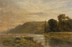 "Painting from the Fine Art collection. ""On the Arun"" by George Cole, showing cows by the river and a wooded hillside in the distance. The towers of Arundel Castle can be seen to the left. 1878."