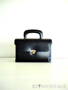 vintage 1960s purse  gold swivel 60s black by shopREiNViNTAGE, $28.00