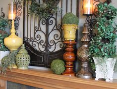 Tuscan decor ideas- love the tall candle holders for plant ledge Tuscan Style Decorating, French Country Decorating, Tuscan Colors, Decoupage, Tuscany Decor, World Decor, Home Decor Inspiration, Decor Ideas, Decorating Ideas