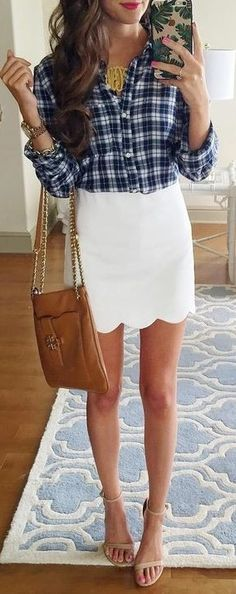 #summer #preppy #outfits |  Blue Plaid Shirt + White Scallop Skirt