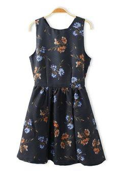 Black dress with flowers. Beautiful year round dress