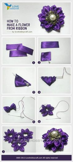 DIY Flower Ribbon Here are 6 ways for making fabric flowers. Ribbon Art, Diy Ribbon, Fabric Ribbon, Ribbon Crafts, Flower Crafts, Ribbon Flower, Wired Ribbon, Fabric Crafts, Making Fabric Flowers