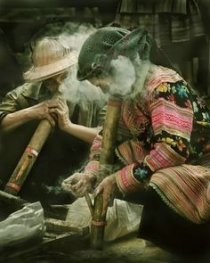 happy hippies smoking ganja.