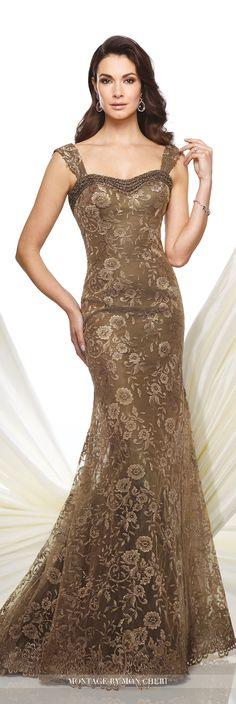 Formal Evening Gowns by Mon Cheri - Fall 2016 - Style No. 216961 - bronze strapless lace trumpet evening gown