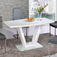 Ventura White High Gloss Finish V Shape Base Dining Table Only