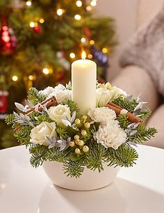 Christmas White Candle Arrangement Flowers