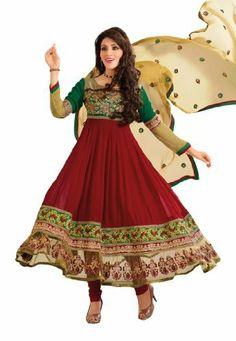 Stylish Indian Designer Wear Maroon Embroidery Anarkali Fabdeal