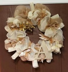 """Burlap and cream deco mesh """"A"""" wreath with gold and burlap ribbon accents"""