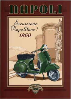 Put a stunning Vespa Posters on your wall today. Choose from hundreds of Vespa Posters and prints which are guaranteed to keep you thrilled. If you are not happy at any time with your Vespa artwork, return it for a full refund. Vintage Vespa, Vintage Ads, Vintage Italy, Vintage Italian Posters, Vintage Travel Posters, Anime Comics, Retro Poster, Cafe Art, Paris Mode