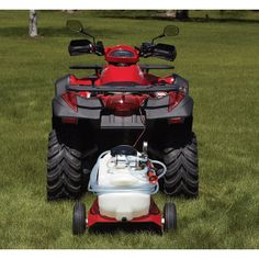 NorthStar® offers this rugged 12-gauge steel tow-behind cart that attaches to ATV or garden tractor. Features a large-capacity 16-gallon tank, 10in. pneumatic tires that roll over the roughest terrain, remote switch and Roundup-ready pump. Order optional boom kit item# 282738.
