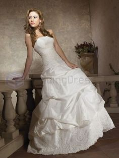 Ball Gown Taffeta Embroidered Bodice Softly Curved Neckline Chapel Length Wedding Dresses