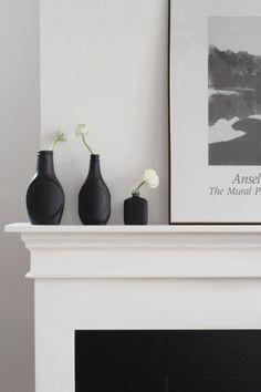matte black vases http://www.simplygrove.com/diy-bottles/ebay-bottle-mantle-jpg/