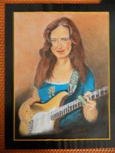Bonnie Raitt Guitar Slide SoftPastel, Paper A3 By; Jaz Blues