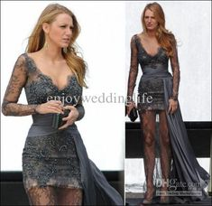 Wholesale Celebrity Dress - Buy Gossip Girl Fashion Blake Lively Fashion Zuhair Murad Grey Long Sleeves Lace Beaded Celebrity Dress, $139.0 | DHgate
