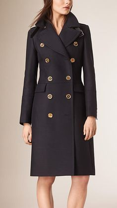 029d4b9ac6f Dark navy Technical Cotton Wool Military Coat - Burberry Burberry Trench  Coat