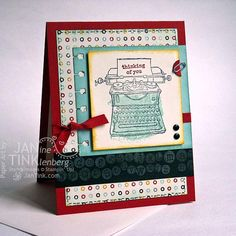 Urban Chic Typewriter Thinking of You Greeting Card by JanTink, $5.95