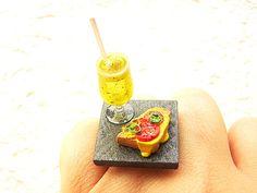 Kawaii Food Ring Pizza Toast Soda Float  by SouZouCreations, $12.50