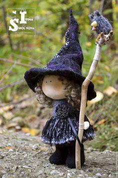 Купить ВЕДЬМОЧКА текстильная куколка-малышка - черный, куколка, кукла текстильная, кукла, куколка малышка
