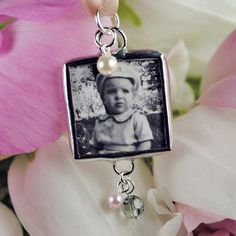 Hand Soldered Wedding Bouquet Photo Charm Bridal by glassrealm