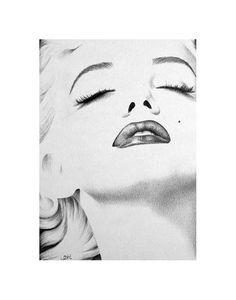 Marilyn Monroe Minimalism Pencil Drawing Fine Art by IleanaHunter,