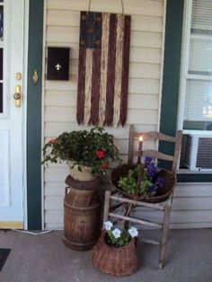 Shabby Chic Outdoor Decor, Rustic Outdoor Furniture, Porch Furniture, Porch Kits, Porch Ideas, Patio Ideas, Garden Ideas, Garden Crafts, Outdoor Ideas