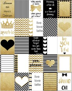 Black White Gold Erin Condren Vertical Planner by LiveLoveLatte