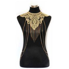 Lady Body Shoulder Chain Gold Multilevel Long Tassel Lace Flower Bikini Harness