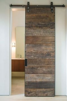 Decorating, Cool Modern Bathroom With Charming Barn Doors Sliding Also White Wall Color Also Modern Vanity And Mirror Design Also Modern Wall Light: Industrial House Decor with Barn Doors for Homes Pallet Door, Pallet Barn, Diy Pallet, Pallet Projects, Craft Projects, House Projects, Pallet Ideas For Home, Rustic Pallet Ideas, Pallet Walls