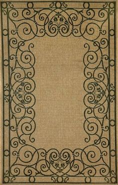 Indoor-Outdodor rugs from Liora Manne: Tropez Wrought Iron Border Black. Order from Rich's for the Home. Ocean Rug, Border Rugs, Rugs And Mats, Back Patio, Modern Area Rugs, Indoor Outdoor Rugs, Throw Rugs, Wrought Iron, Sweet Home