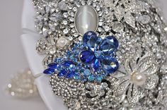 Bling Brooch Bouquet With A Little Something Blue:) #wedding #bouquet