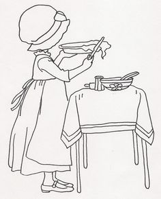 girl baking pie - embroidery pattern or coloring page