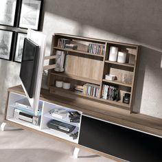 Living Room Tv Cabinet Designs, Bedroom Tv Unit Design, Tv In Bedroom, Home Design Decor, House Design, Interior Design, Home Decor, Tv Escondida, Modern Tv Wall